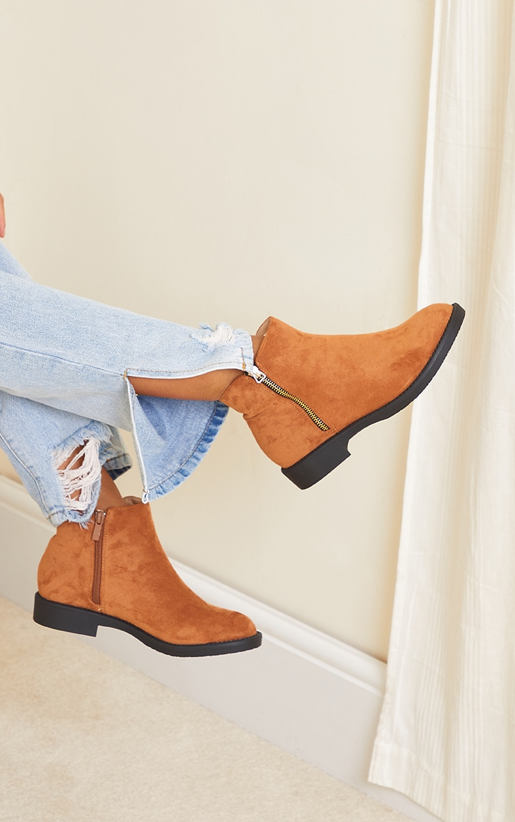 Tan Faux Suede Basic Ankle Boots 2