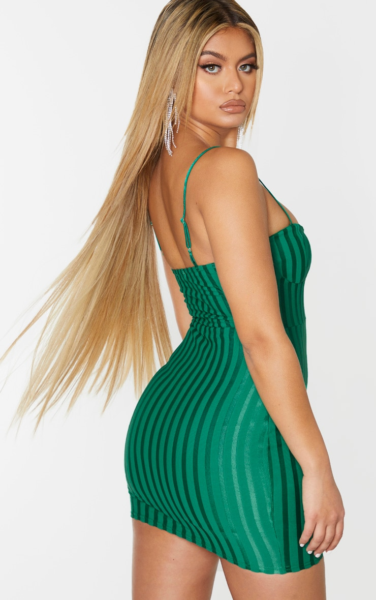 Emerald Green Strappy Cup Detail Bodycon Dress 2