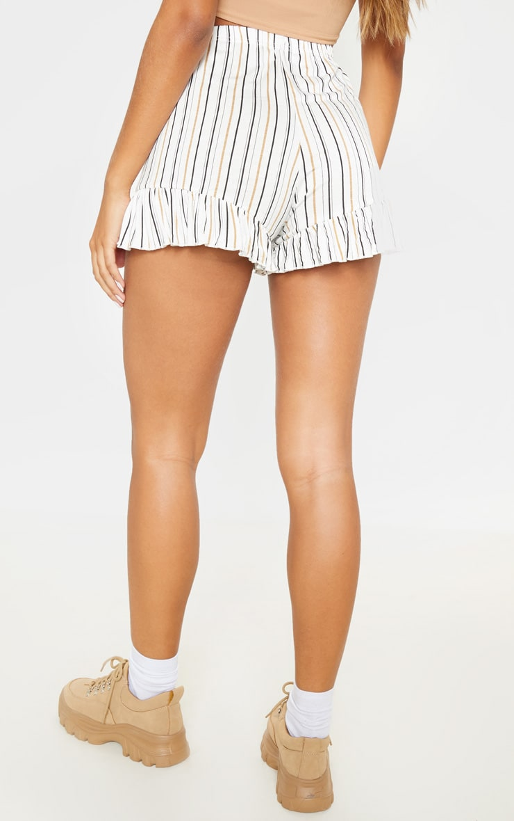 White Stripe Frill Hem Shorts 4