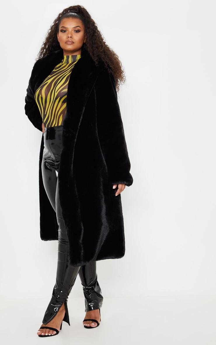 Plus Black Premium Longline Faux Fur Hooded Coat 4