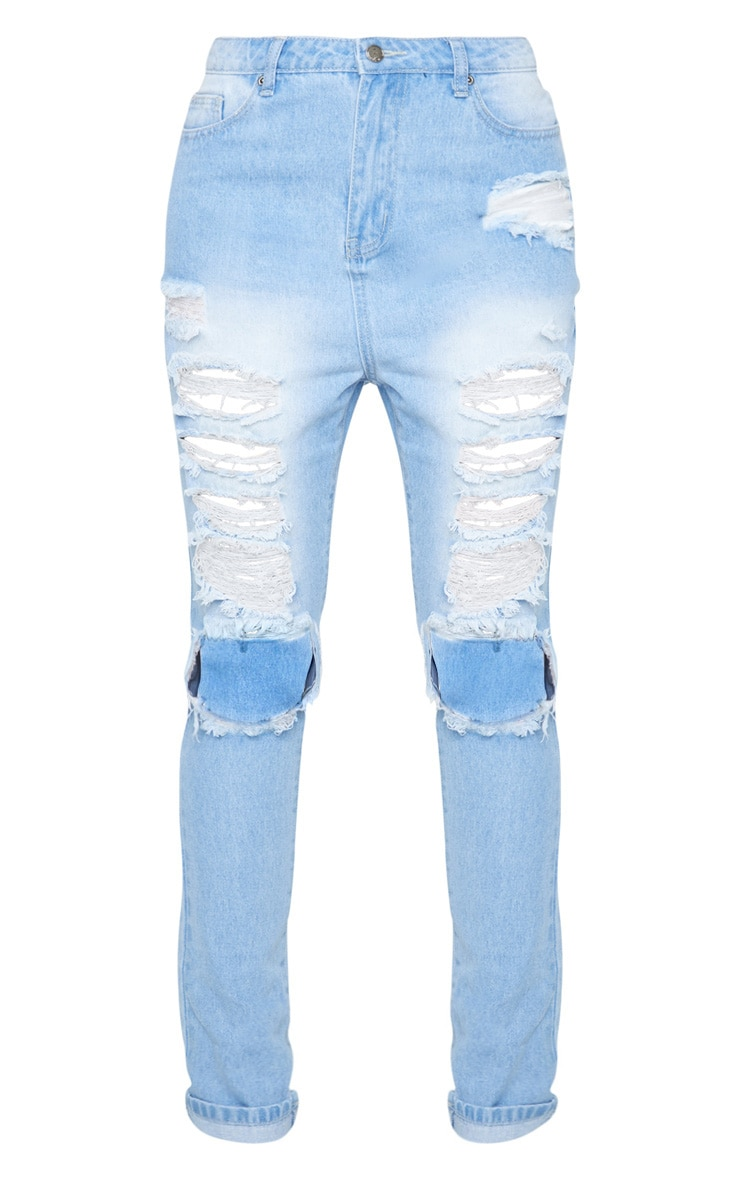 Tall Mid Wash Denim Distress Jean 3