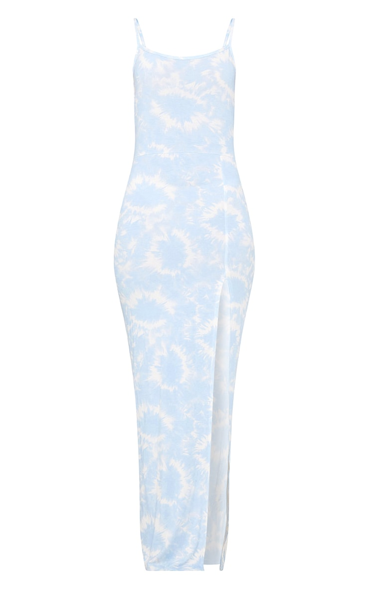 Blue Tie Dye Strappy Thigh Split Maxi Dress  3