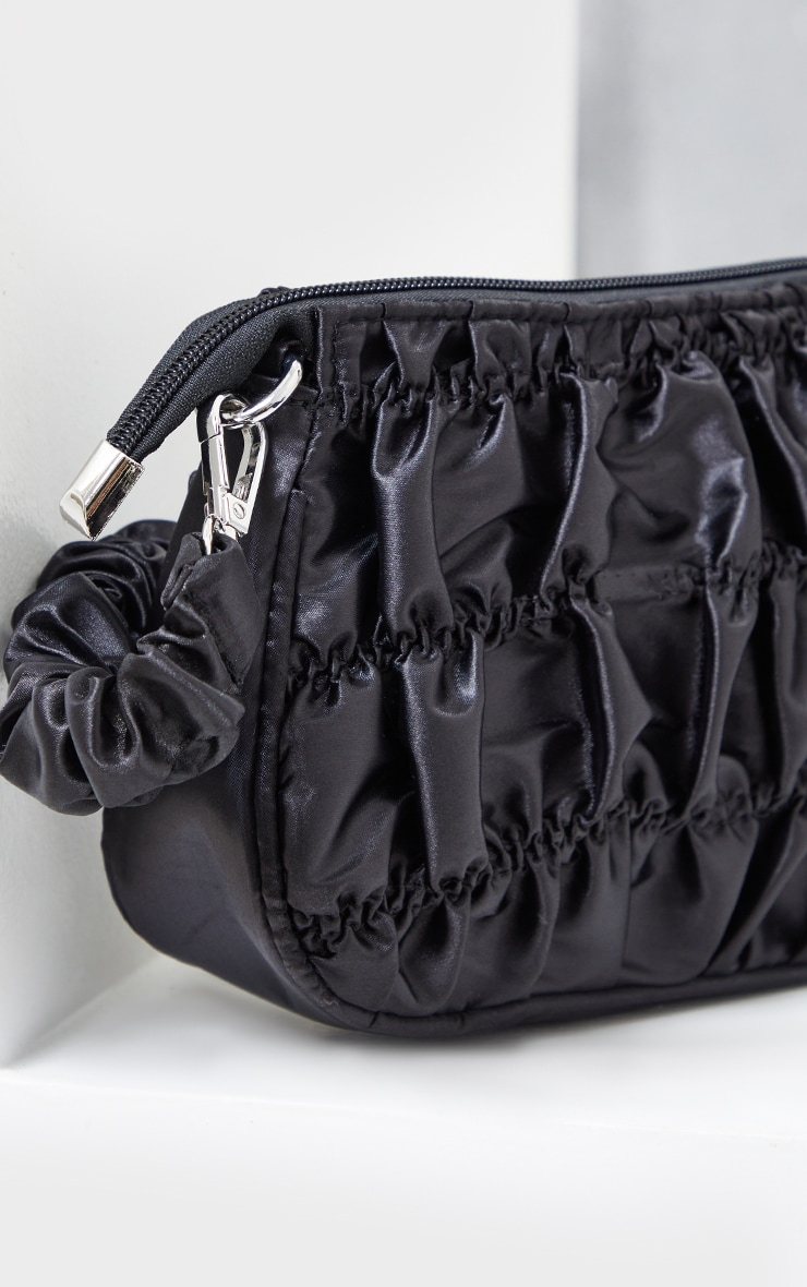 Black Ruched Handle Shoulder Bag 3