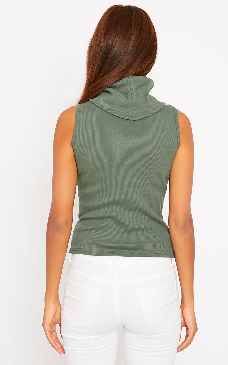 Melina Khaki Ribbed Turtle Neck Top 2