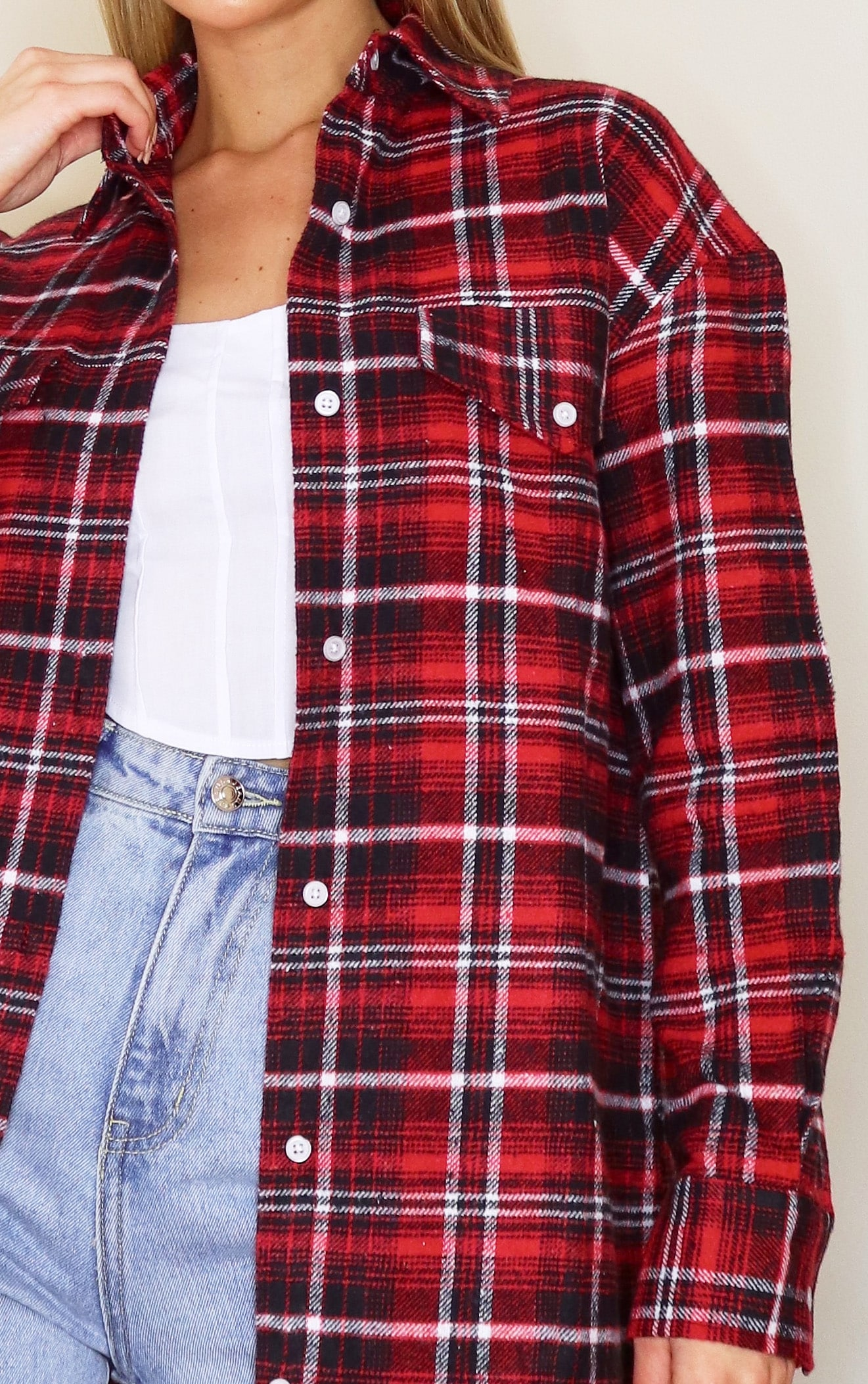 Red Oversized Check Boyfriend Shirt 4