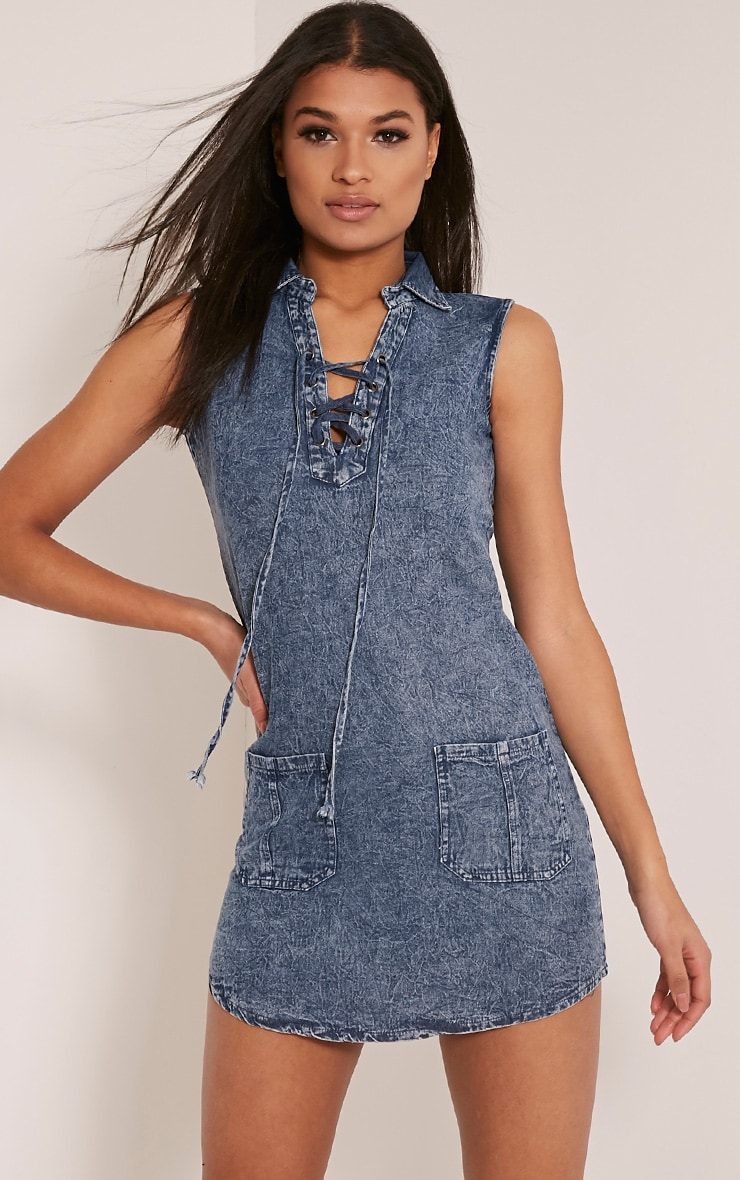 Dawn Acid Wash Lace Up Denim Mini Dress 1