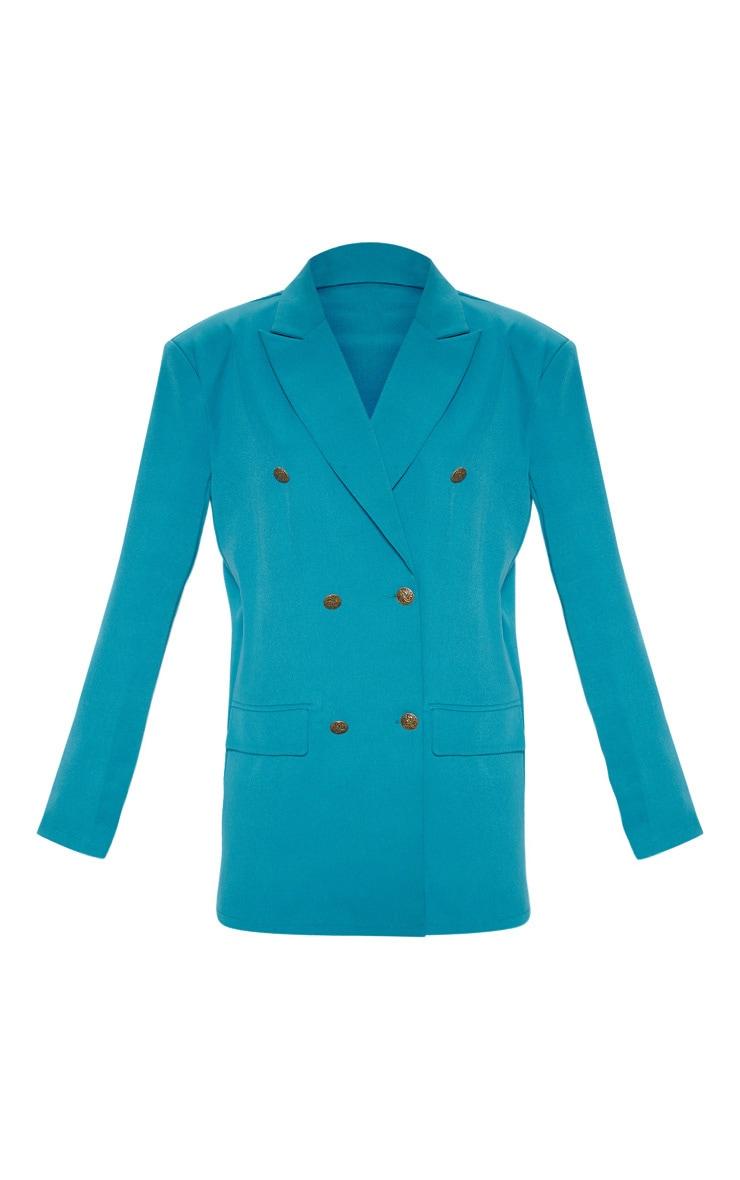 Blazer oversize long tissé à boutons bleu sarcelle 4