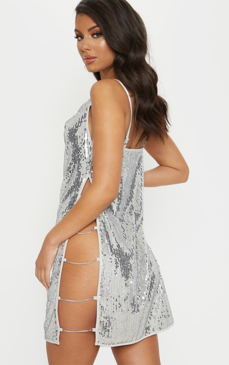 Silver Sequin Chain Side Detail Bodycon Dress 2