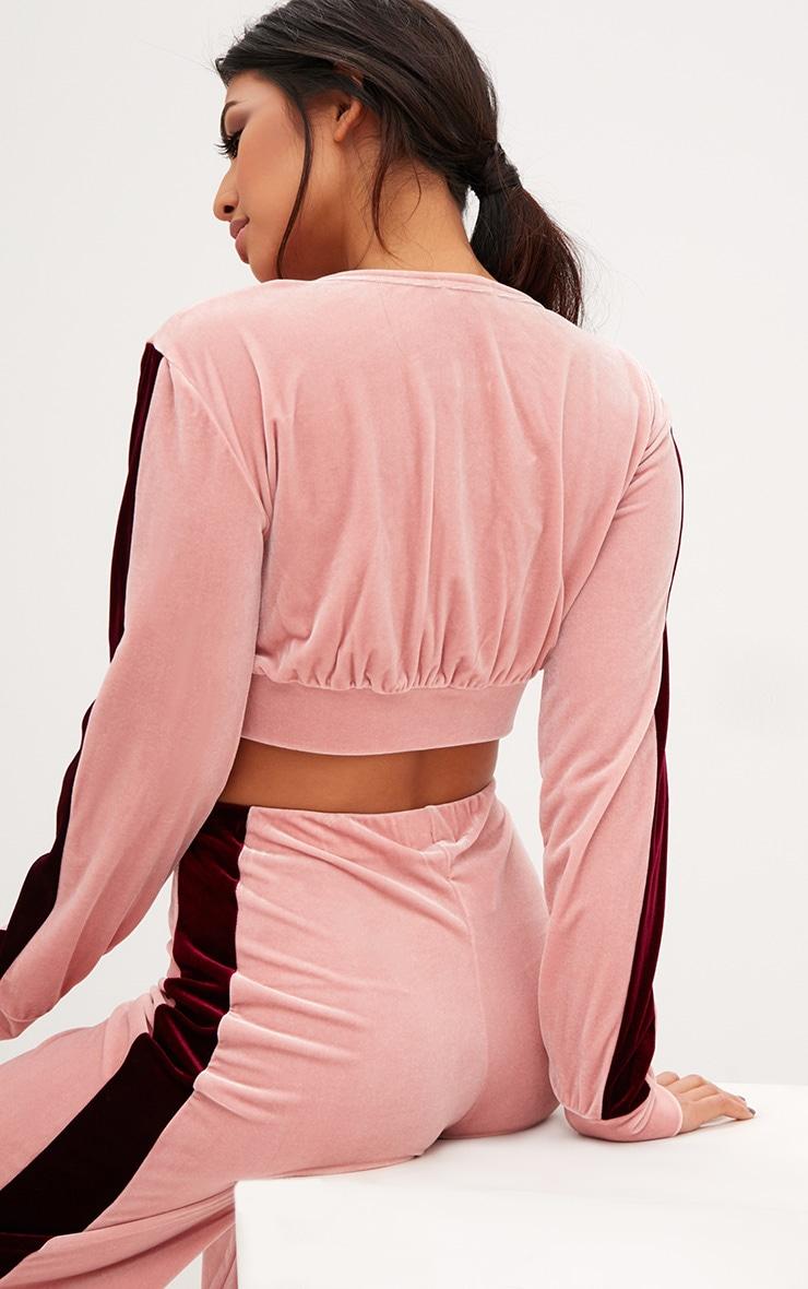 Pink Velvet Contrast Stripe Cropped Jacket  2