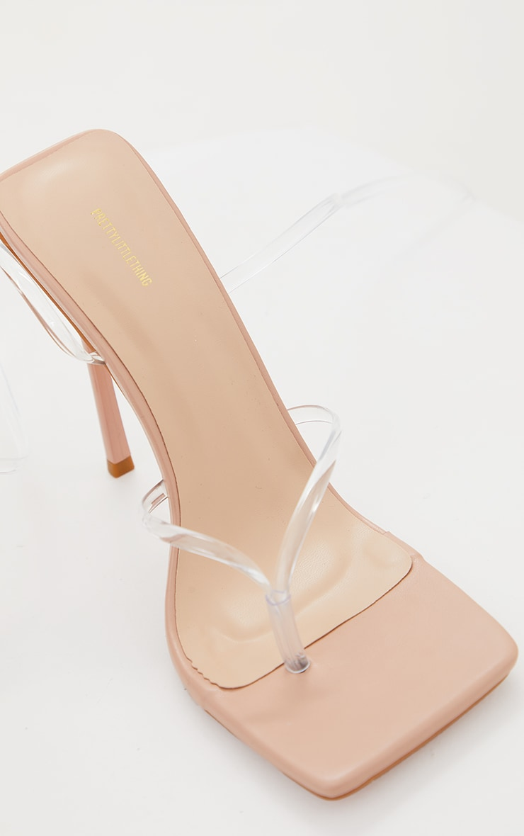 Nude Square Toe Clear Lace Up Toe Thong Heels 4
