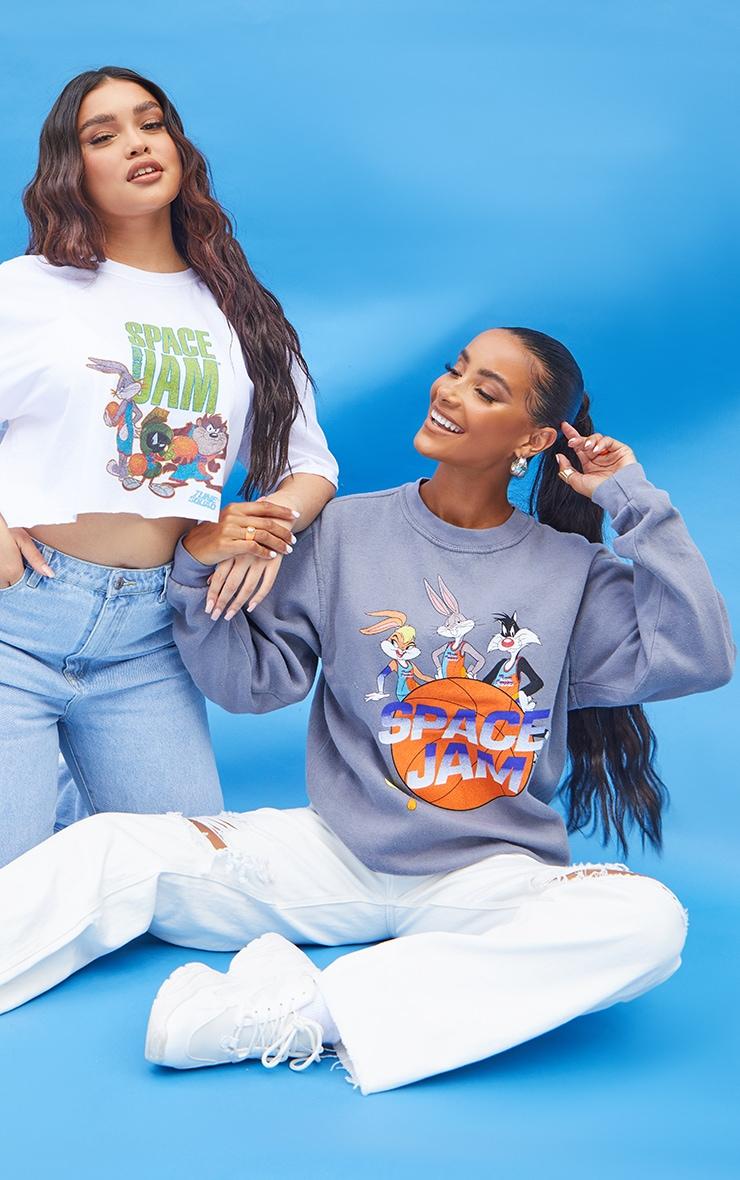 Charcoal Space Jam Printed Washed Sweatshirt 1