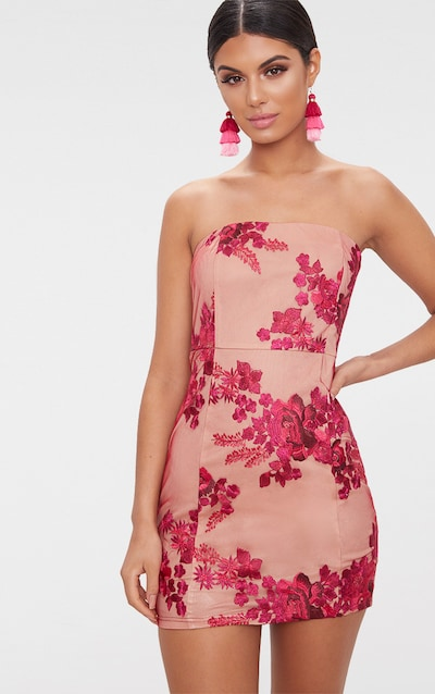 adff7eaacc Pink Bandeau Embroidered Lace Bodycon Dress