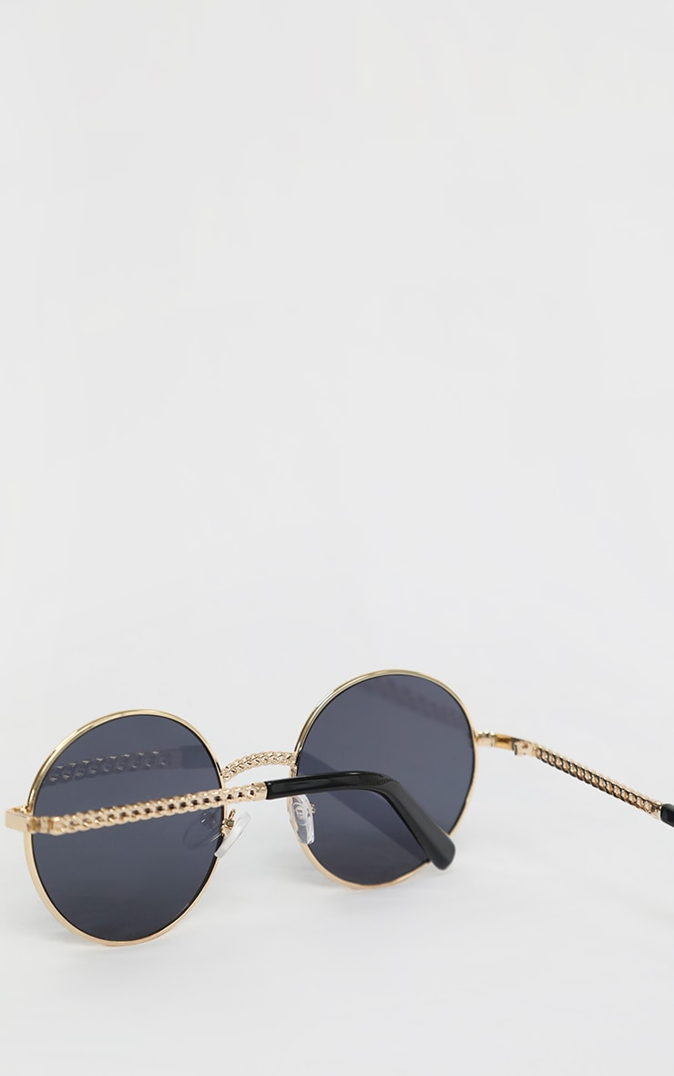 Gold Chain Trim Round Sunglasses 4