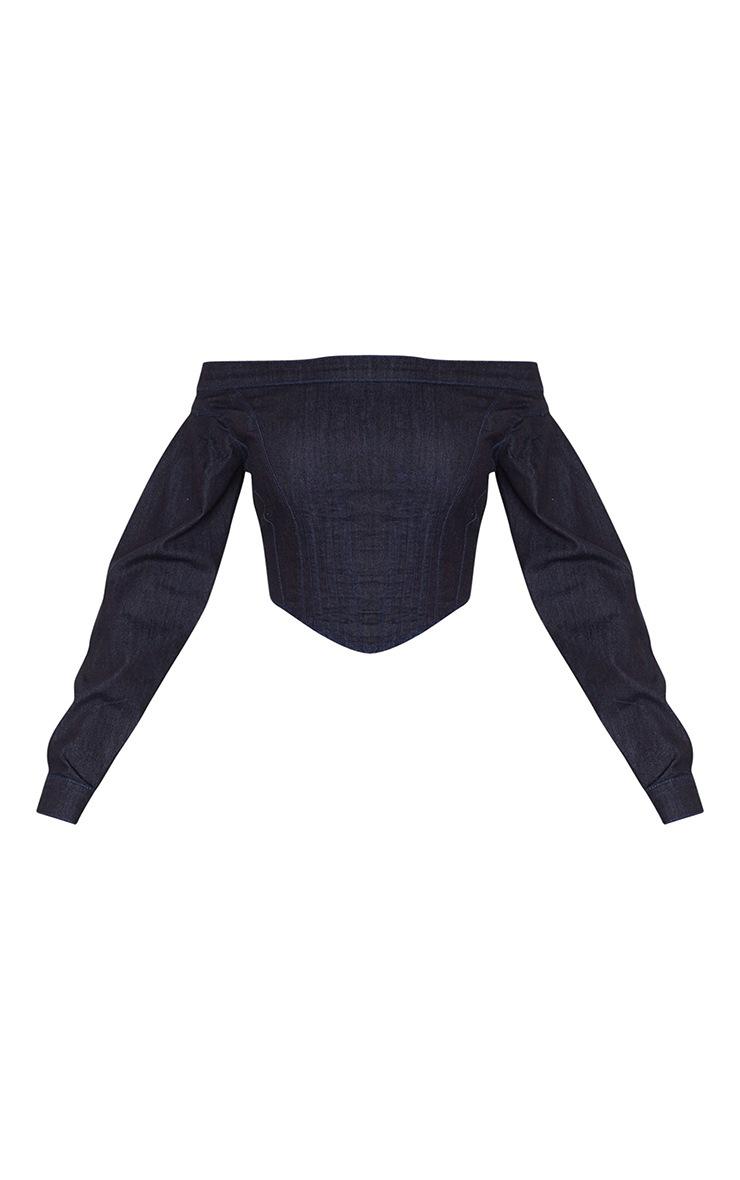 Indigo Corset Detail Long Sleeve Denim Top 5