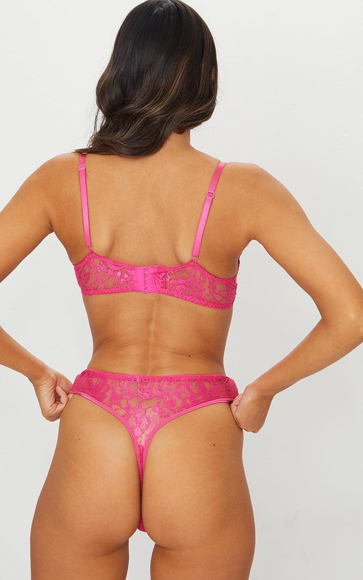 Hot Pink Floral Lace Thong 3