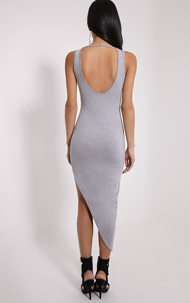 Rayne Grey Marl Asymmetric Jersey Scoop Back Dress 2