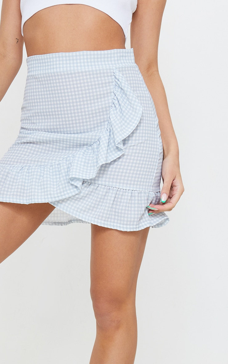 Grey Gingham Frill Hem Mini Skirt 5