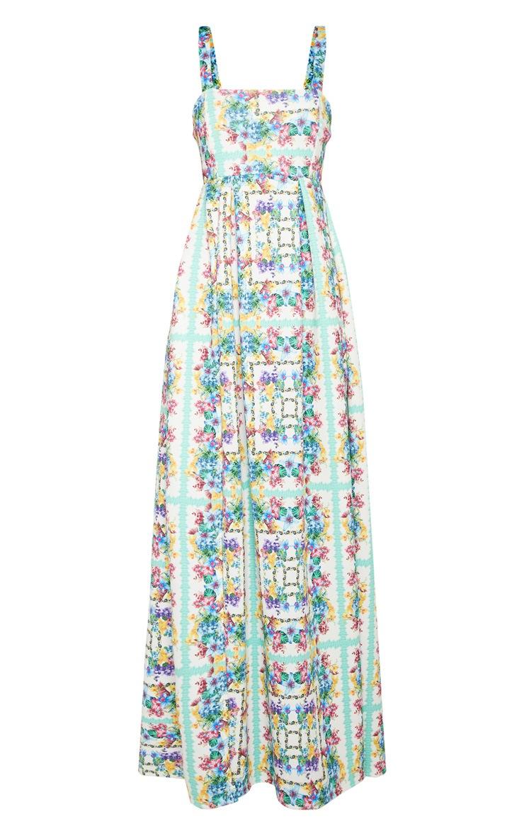 White Tropical Floral Tile Print Split Detail Maxi Dress Pretty Little Thing UCbfX