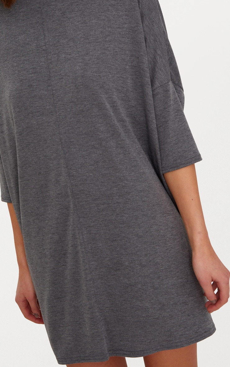 Basic Charcoal Oversized Batwing T Shirt Dress 5