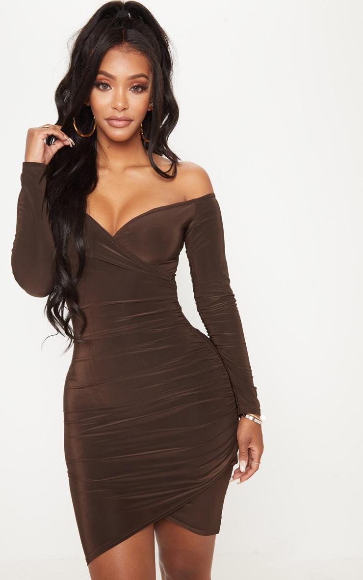 Shape Chocolate Slinky Ruched Detail bardot Dress 1