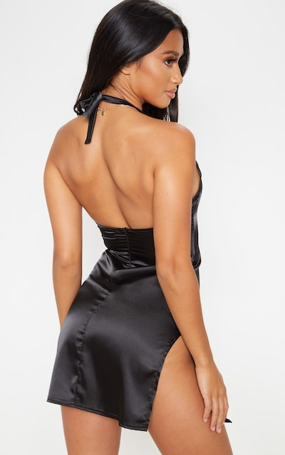 Petite Black Halterneck Double Split Satin Mini Dress