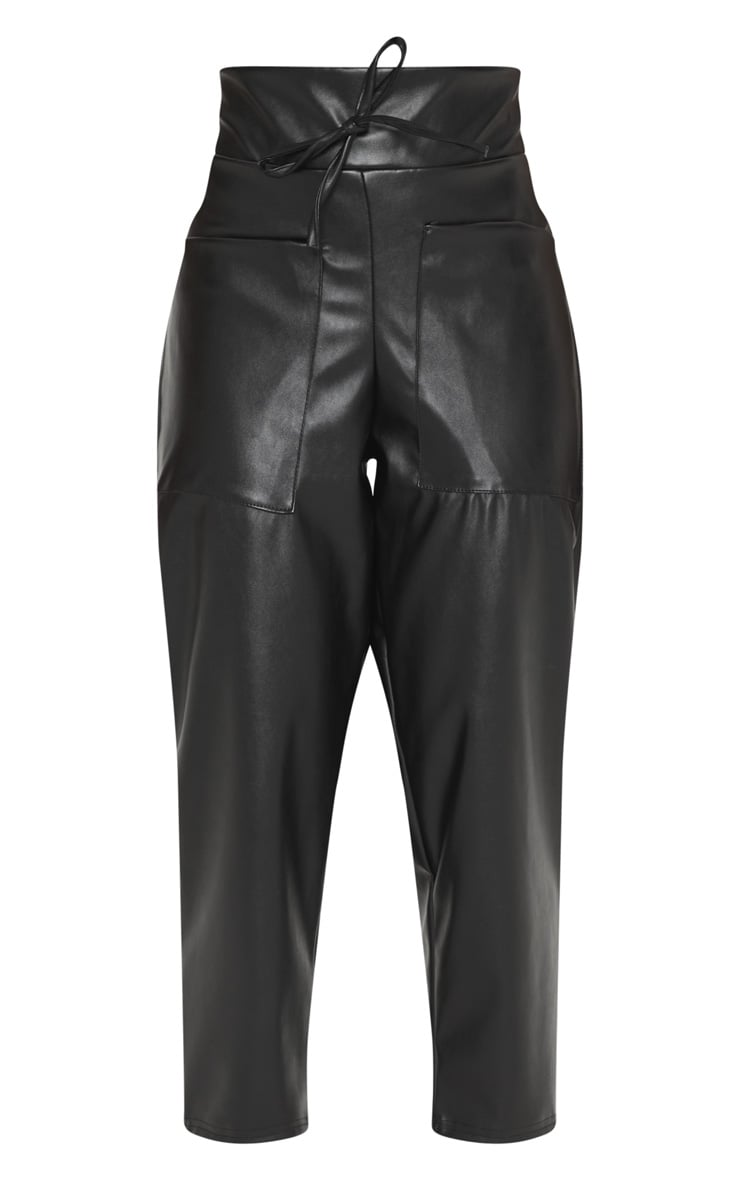 Petite Black Pocket Detail Faux Leather Joggers 3