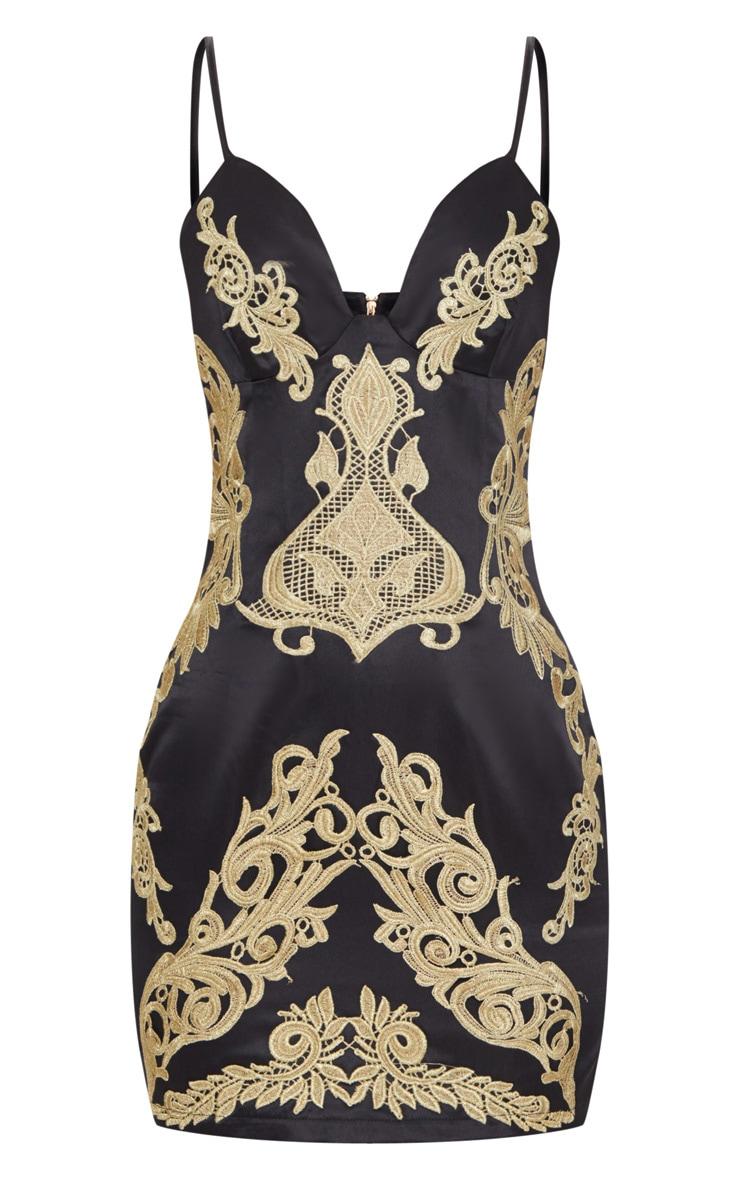 Black Satin Gold Applique Bodycon Dress 3