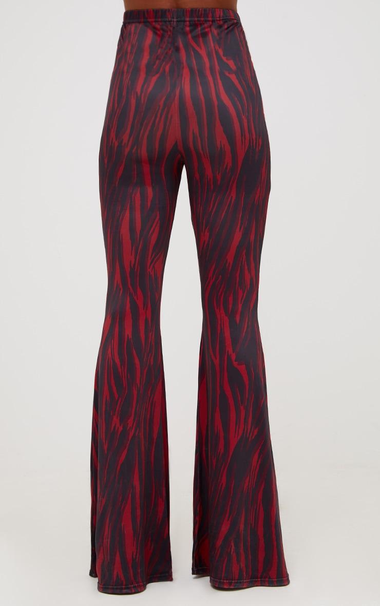 Red Zebra Slinky Flared Pants 4