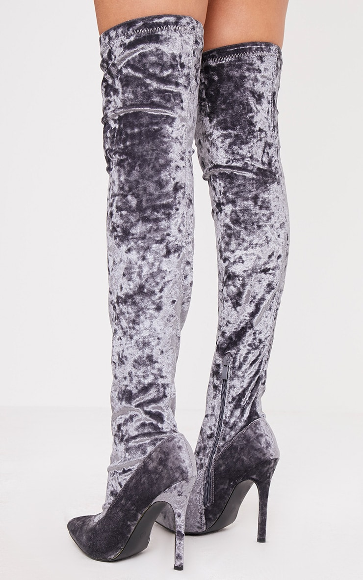 Christelle Grey Crushed Velvet Thigh High Heeled Boots 4