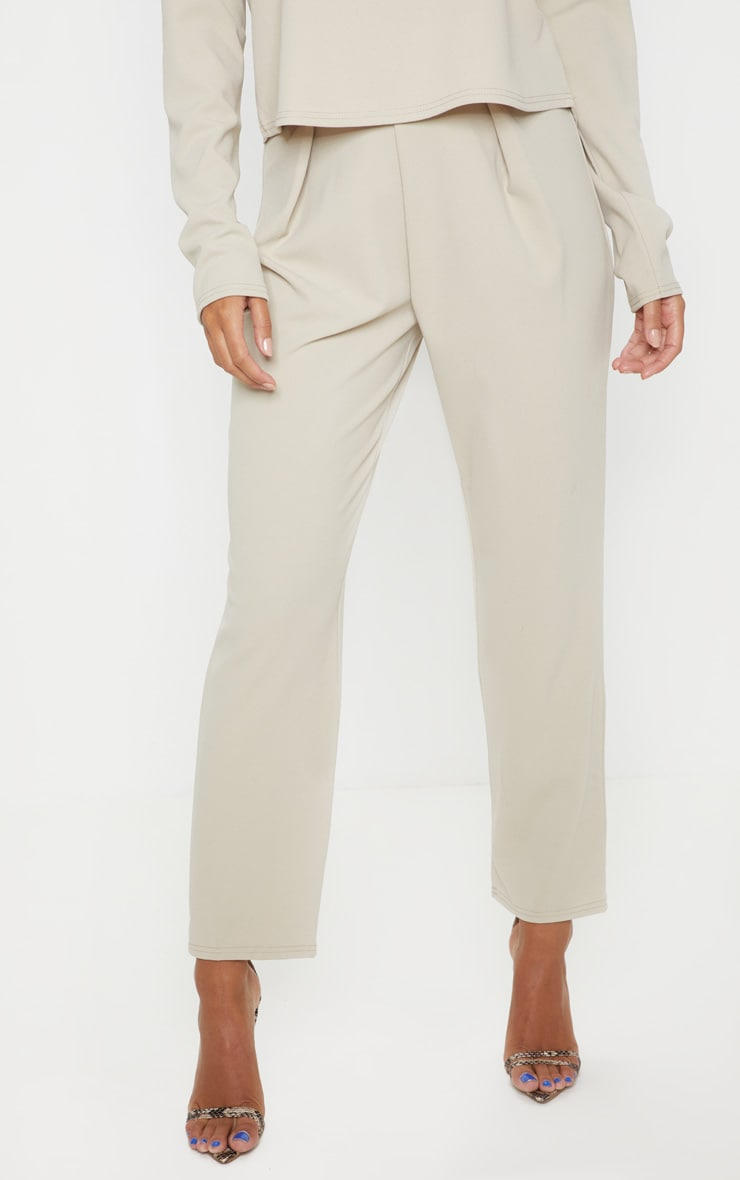 Stone High Waisted Pleat Detail Tapered Trouser 2