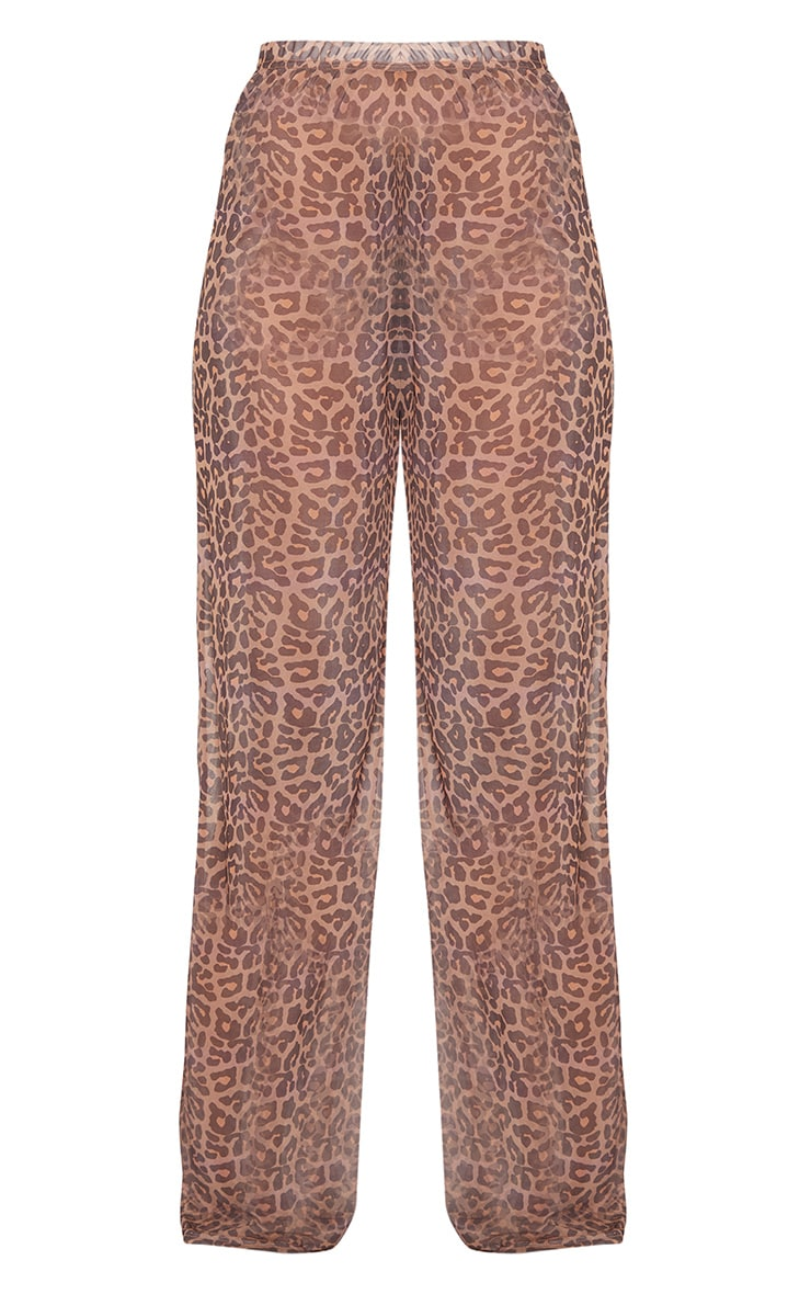 Tall Brown Leopard Print Sheer Trousers 3