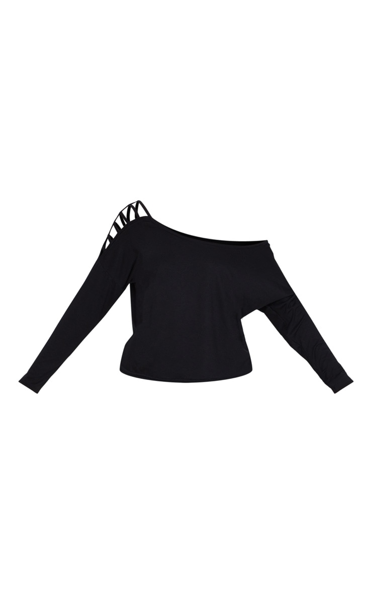 Black Jersey Off The Shoulder T Shirt 3