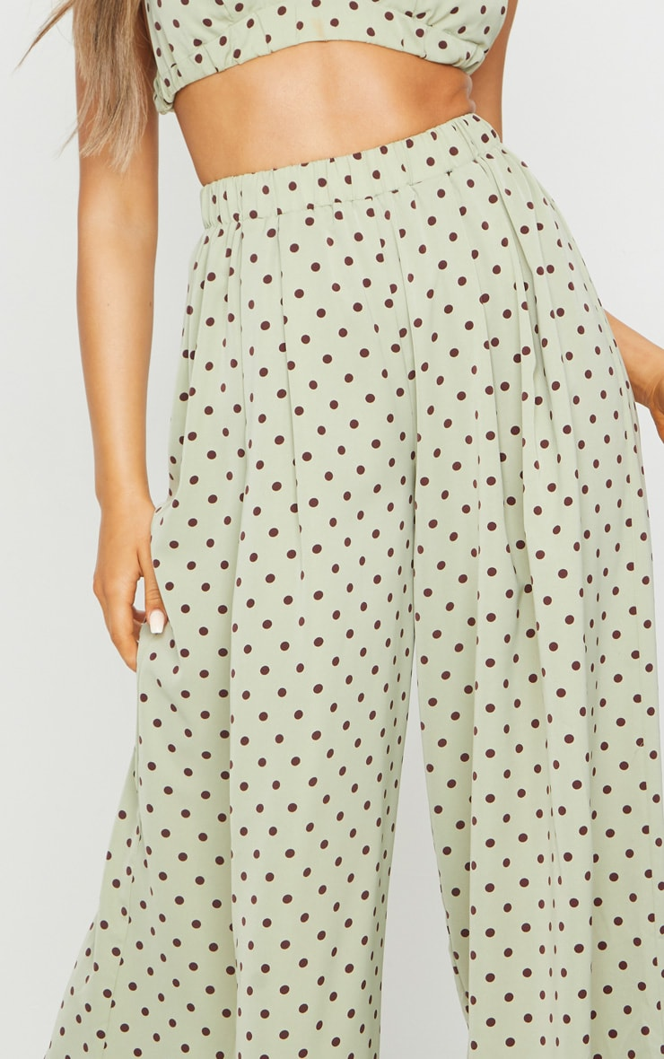 Sage Green Polka Dot Print Wide Leg Pants 4