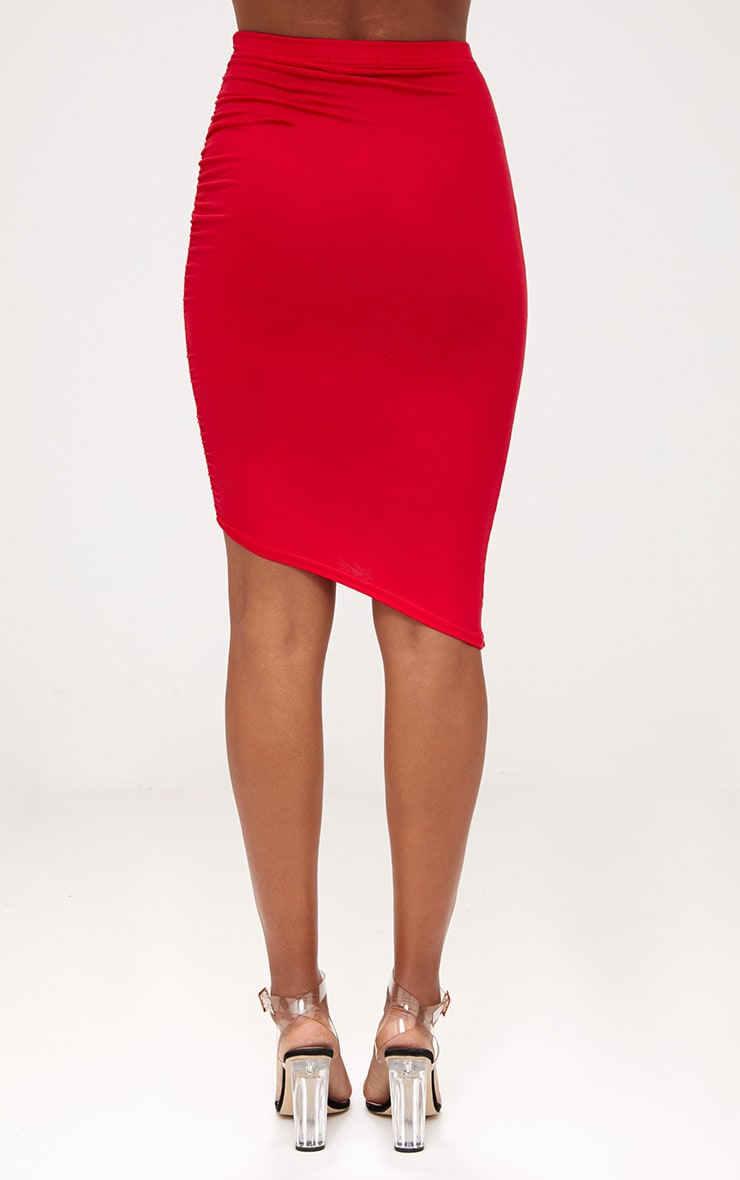 Red Ruched Side Asymmetric Midi Skirt  4