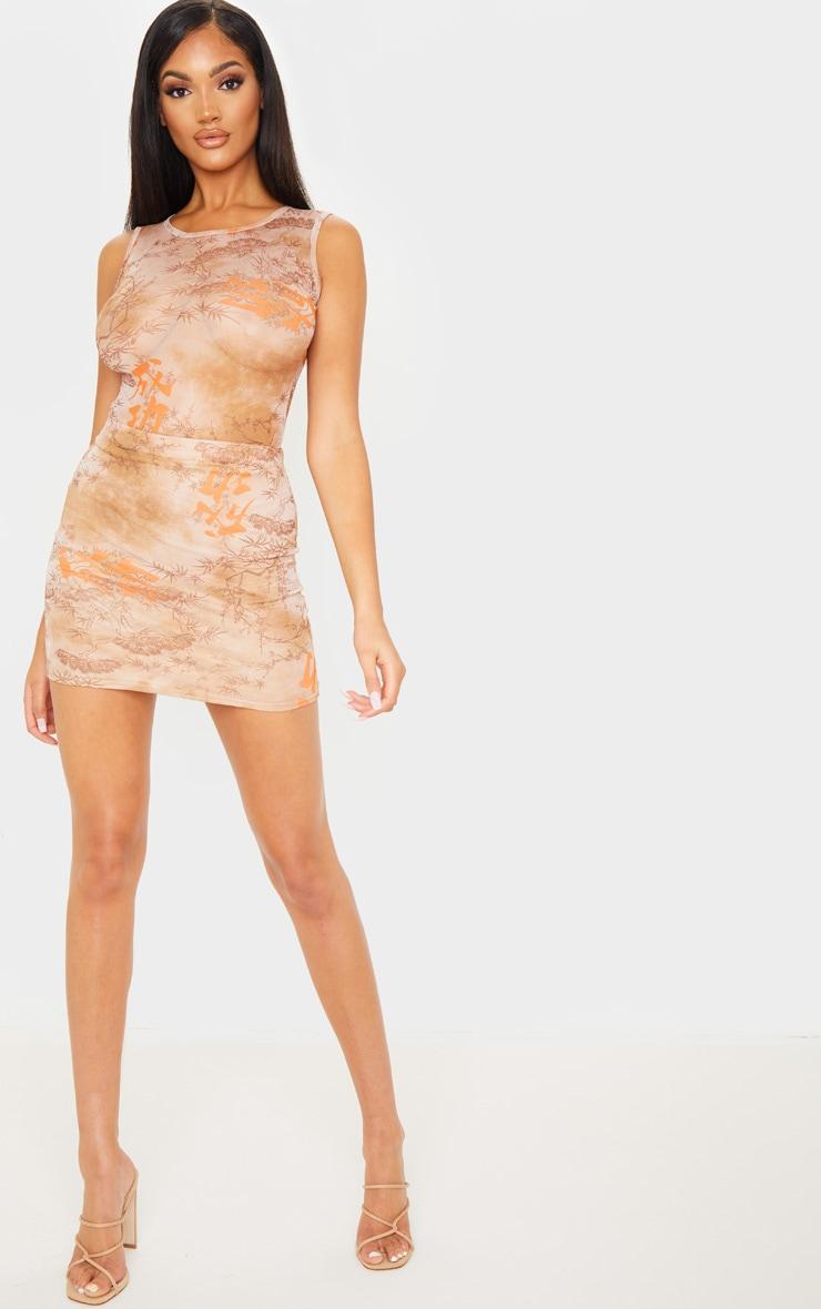 Nude Oriental Mesh Printed Bodysuit 5