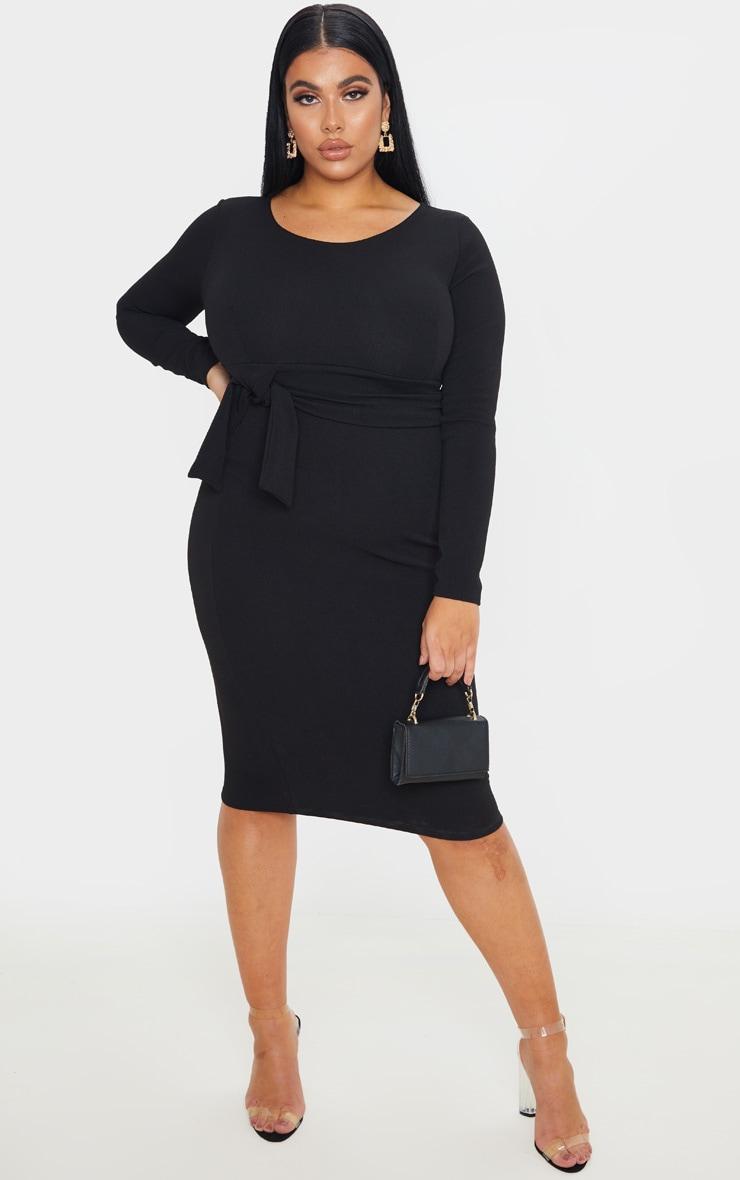 Plus Black Long Sleeve Wrap Waist Midi Dress 1