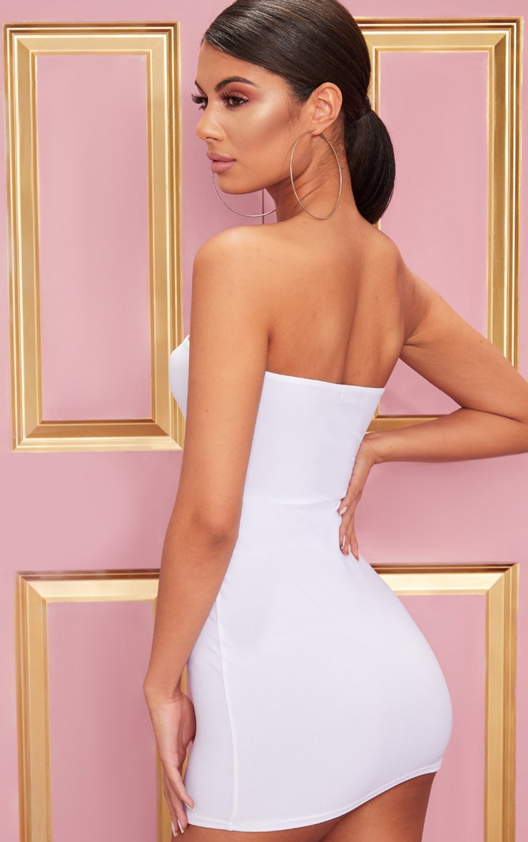 White Bandeau Pointy Hem Bodycon Dress 2