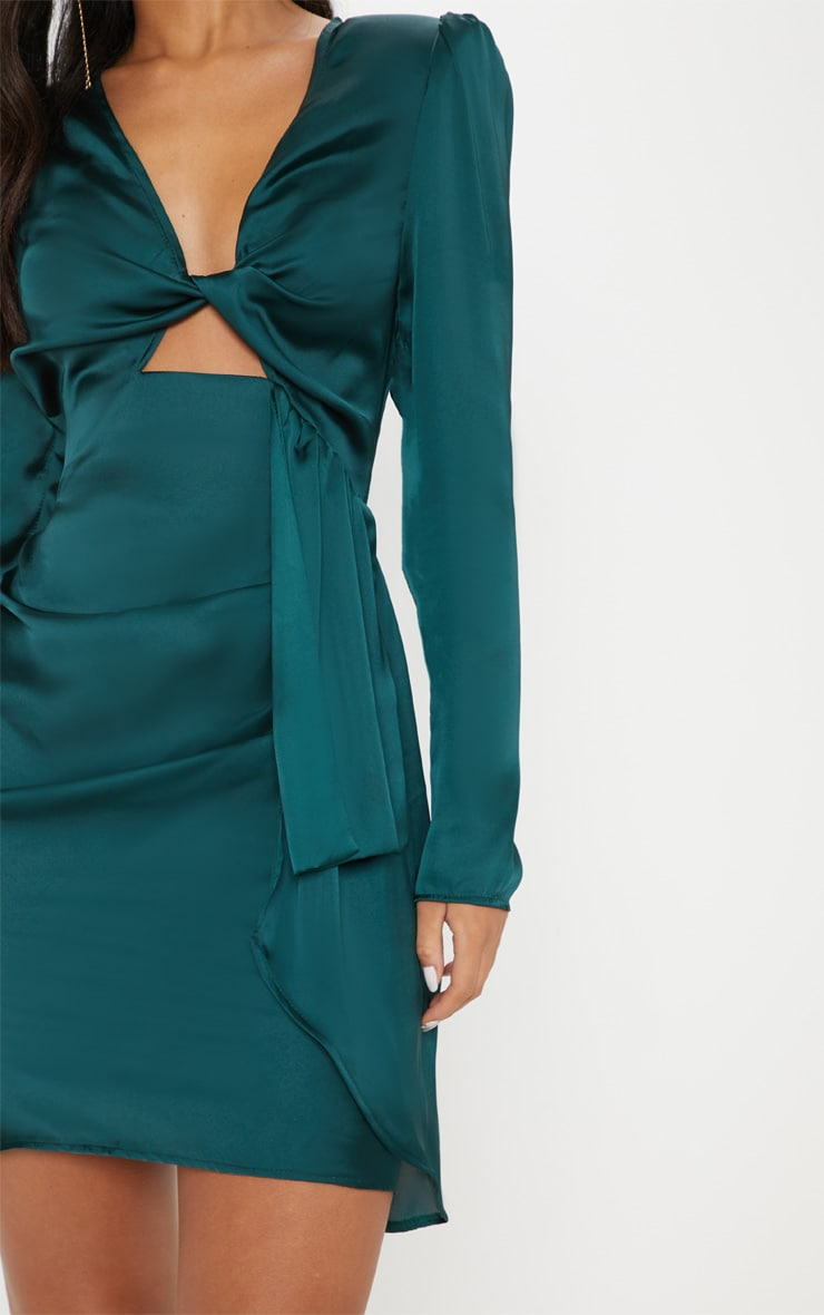 Emerald Green Satin Shoulder Pad Wrap Bodycon Dress 4
