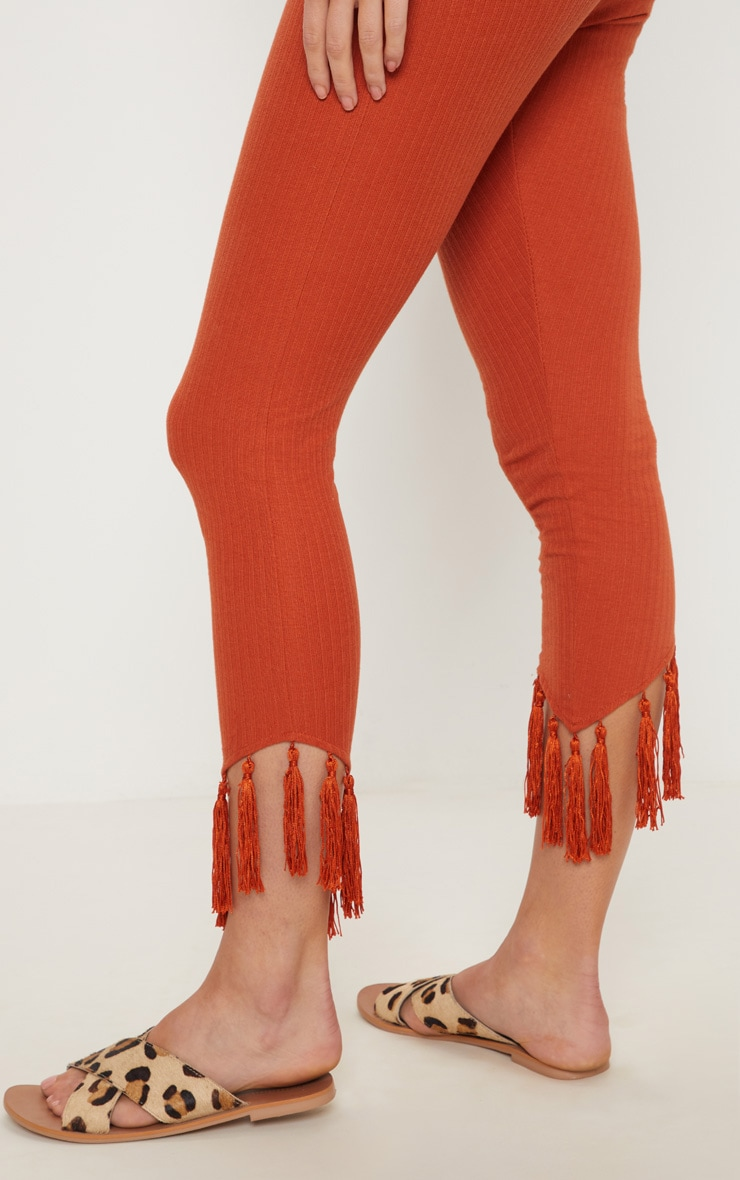 Rust Rib Tassel Trim Legging 5