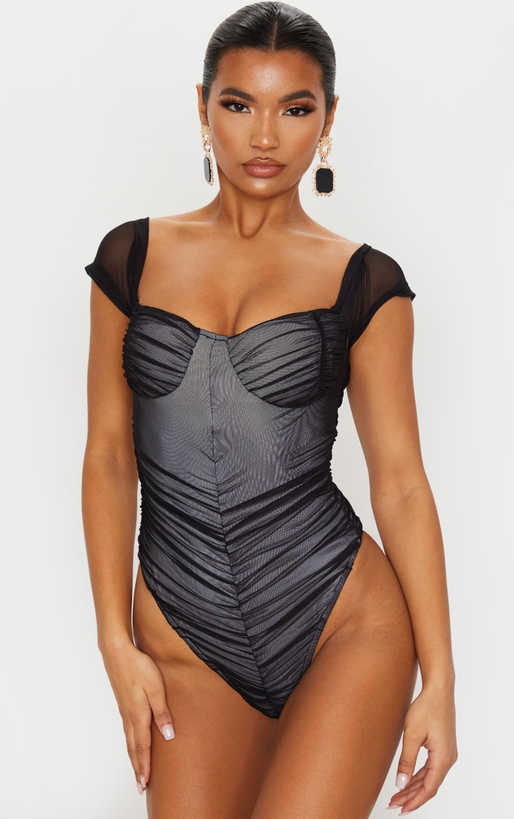 Black Mesh Ruched Short Sleeve Bodysuit 2