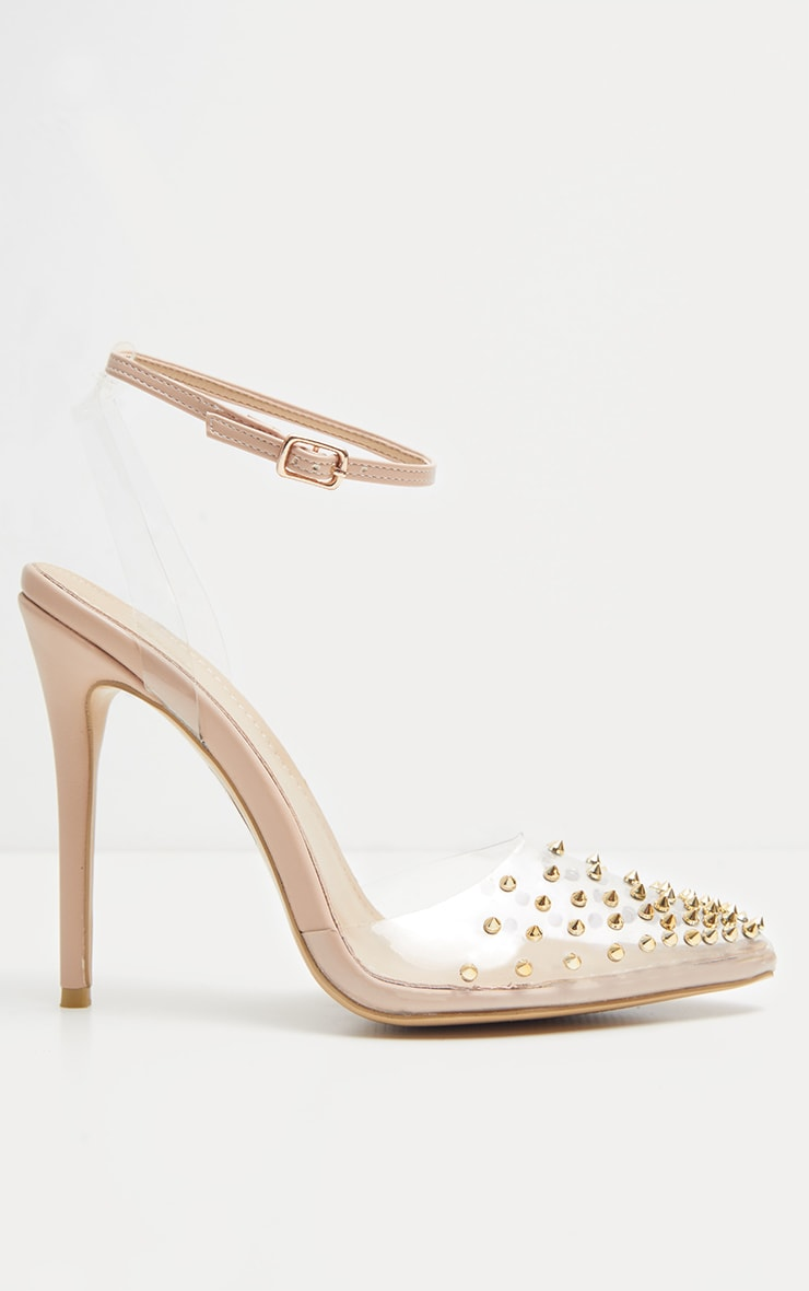 Nude Studded Clear Court Shoes  3