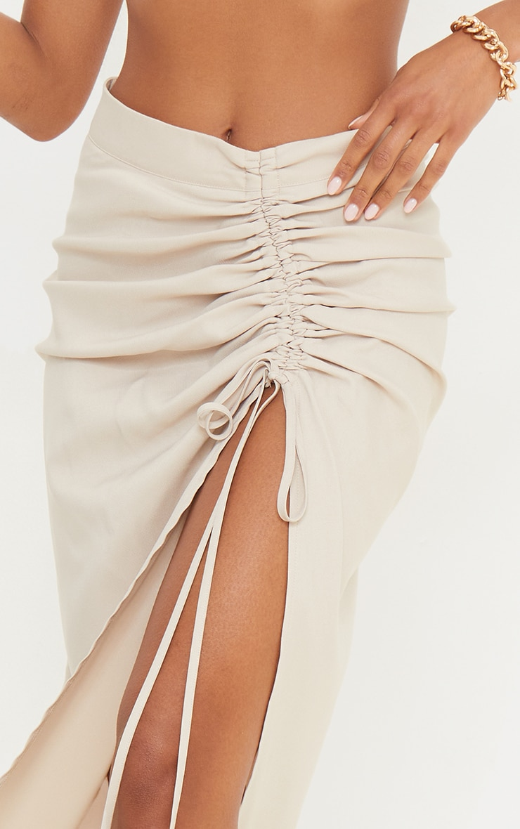 Champagne Woven Ruched Detail Midi Skirt 4