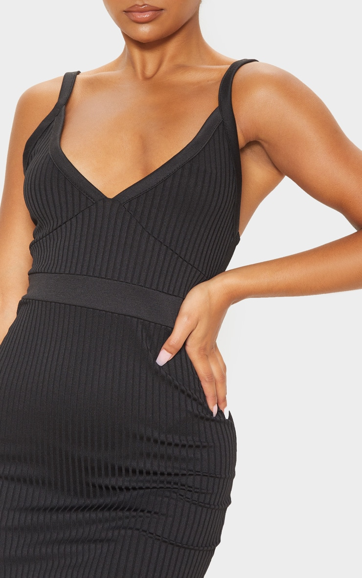 Black Ribbed Sleeveless Cup Detail Bodycon Dress 5