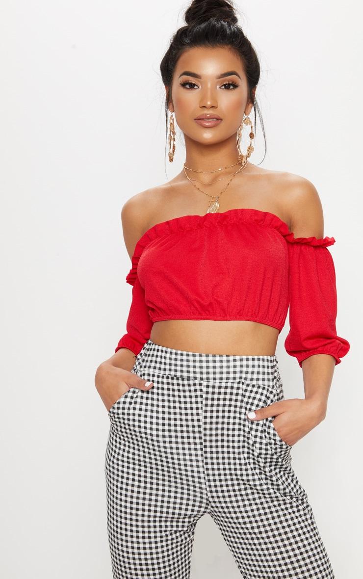 Red Crepe Bardot Tie Back Crop Top  1