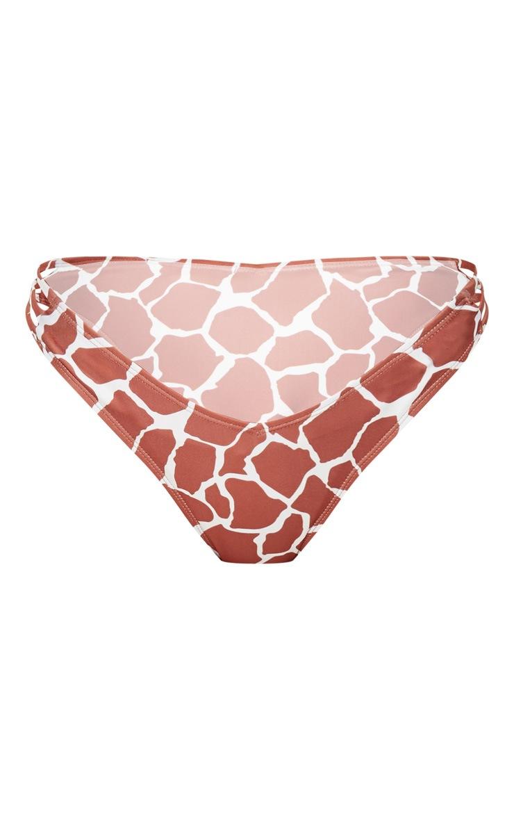 Brown Giraffe Print V Front Bikini Bottom 3