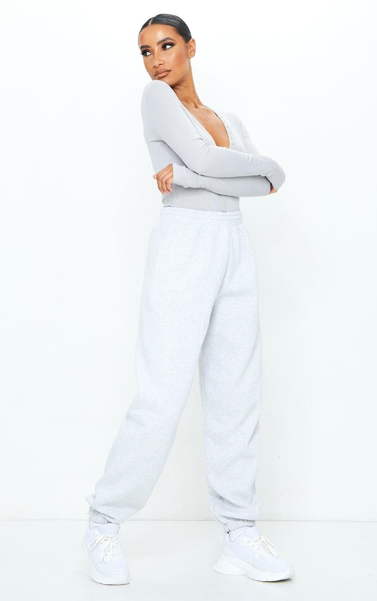 Grey Soft Rib Popper Detail Long Sleeve Bodysuit 3