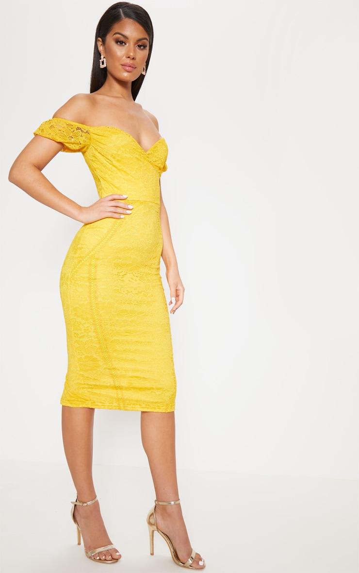 Mustard Lace Bardot Wrap Midi Dress 4