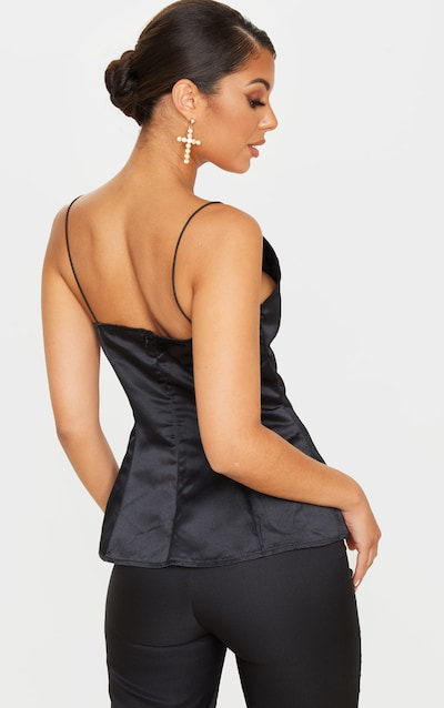 Black Satin Peplum Structured Long Top
