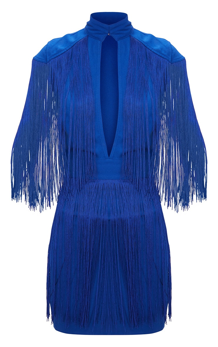 Cobalt Tassel Cap Sleeve Plunge Bodycon Dress 3