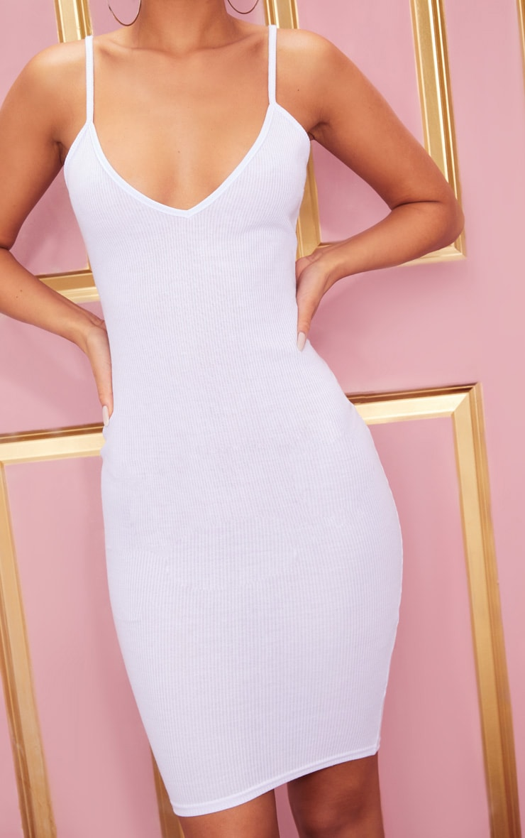 White Ribbed Plunge Midi Dress 5
